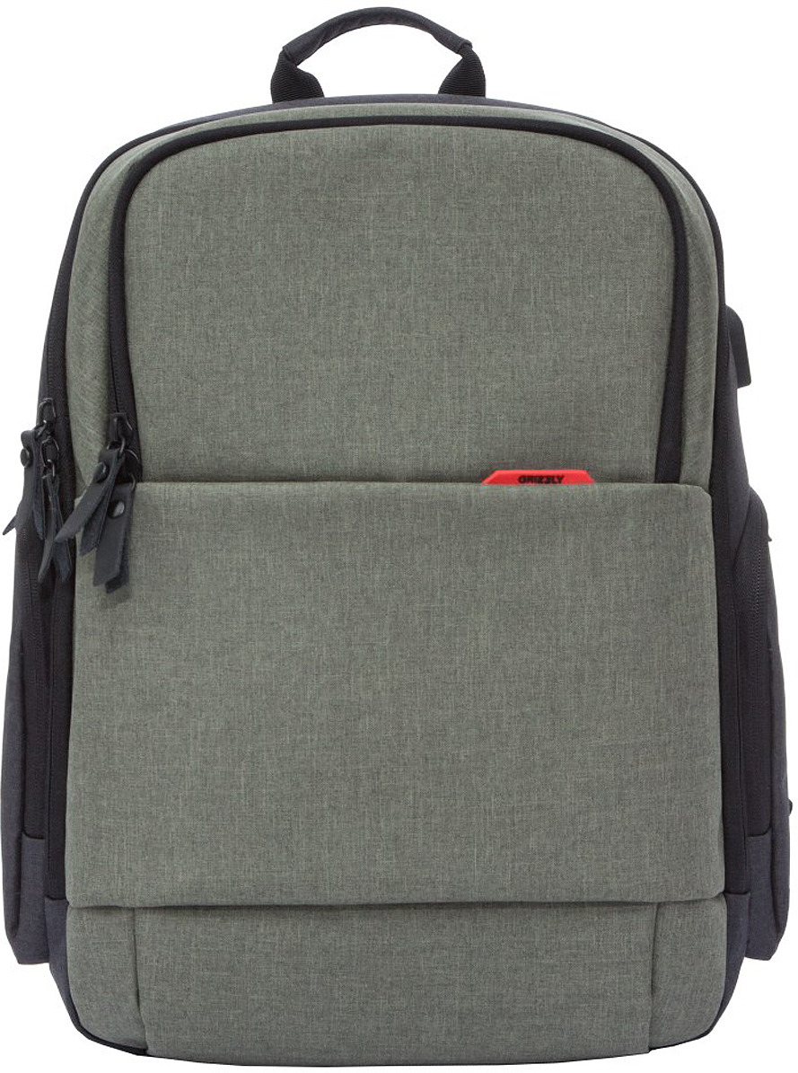 Рюкзак городской Grizzly, RQ-921-1/1, оливковый, 18 л рюкзак grizzly rq 912 1 1 black