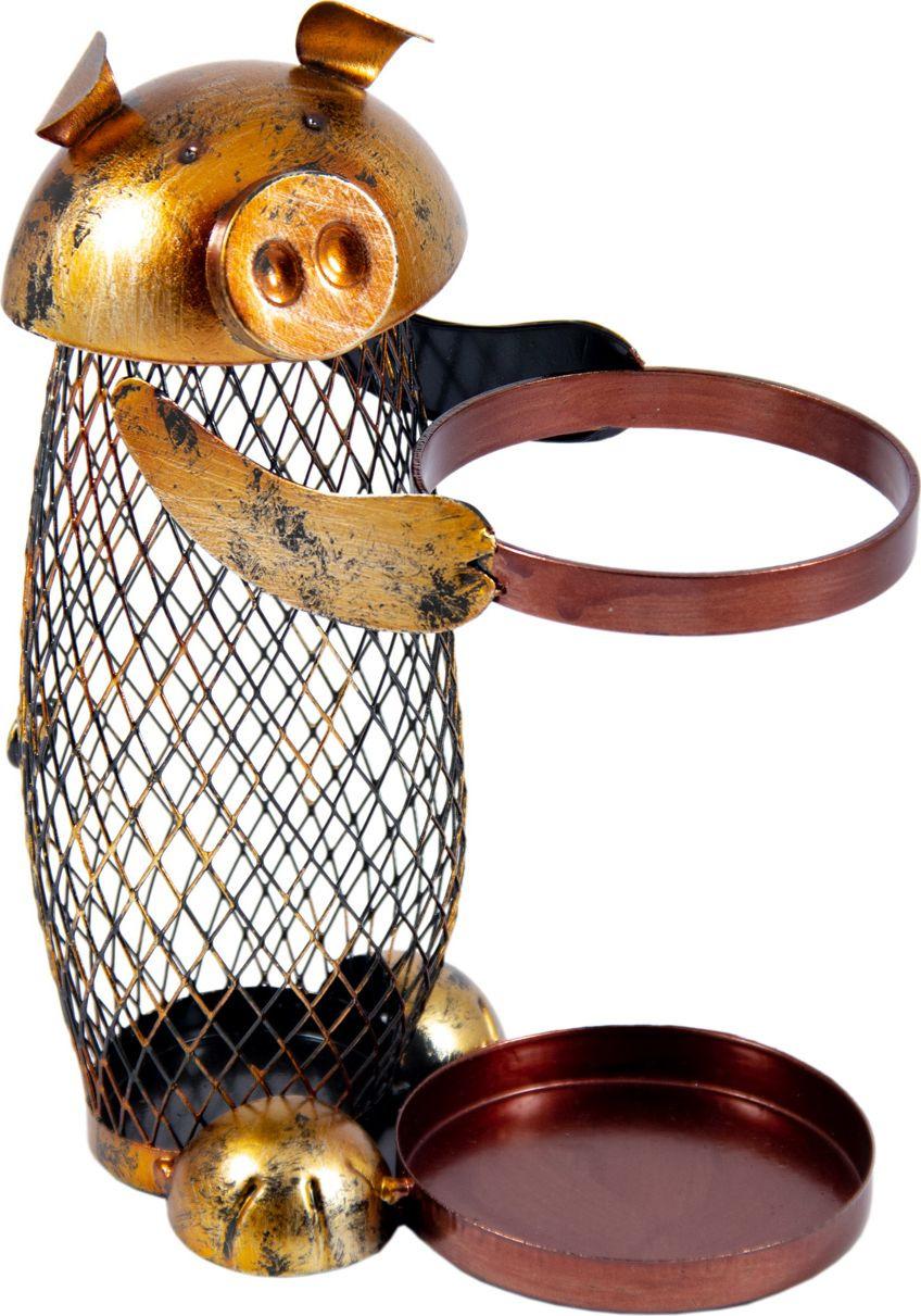 "Подставка под бутылку Русские подарки ""Свинка"", 88033, с накопителем для пробок, 19 х 10 х 24 см"