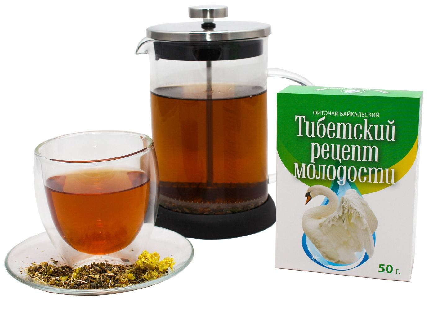 Чай листовой Фиточаи Байкальские Тибетский Рецепт Молодости омолаживающий, 50 г медицина шум в голове