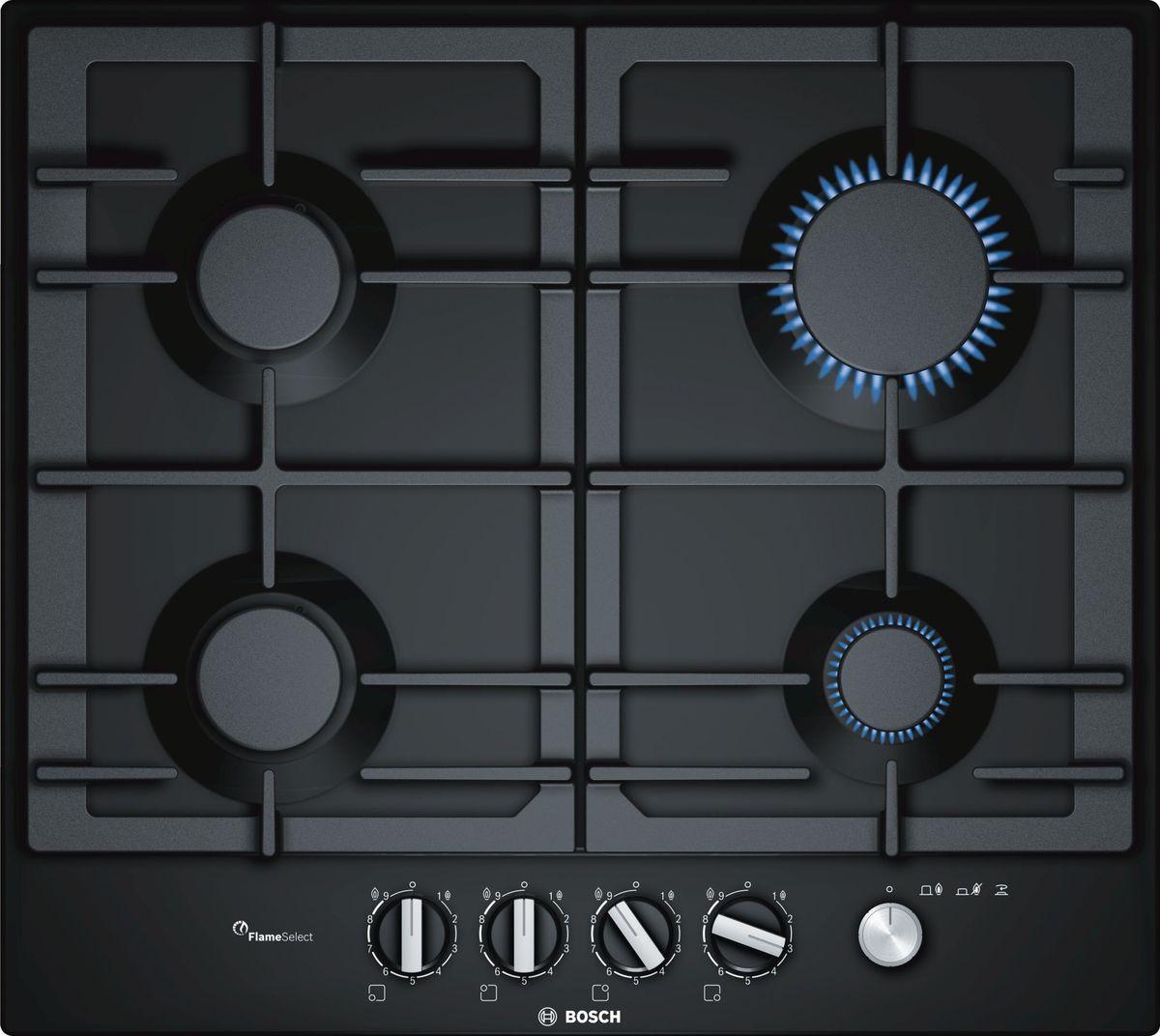 Варочная панель Bosch PCP6A6M90R, черный газовая варочная поверхность bosch pcp6a6m90r