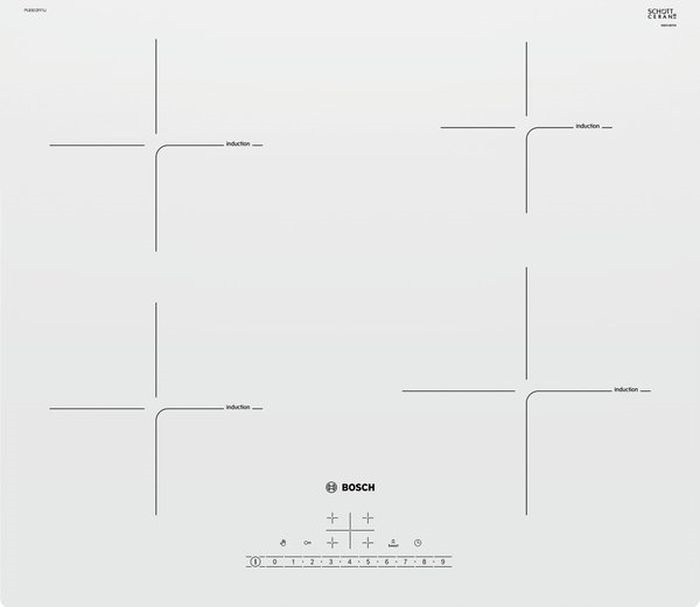 Варочная панель Bosch, PUE612FF1J, электрическая, встраиваемая, белый встраиваемая электрическая варочная панель bosch pkm 645 fp1r