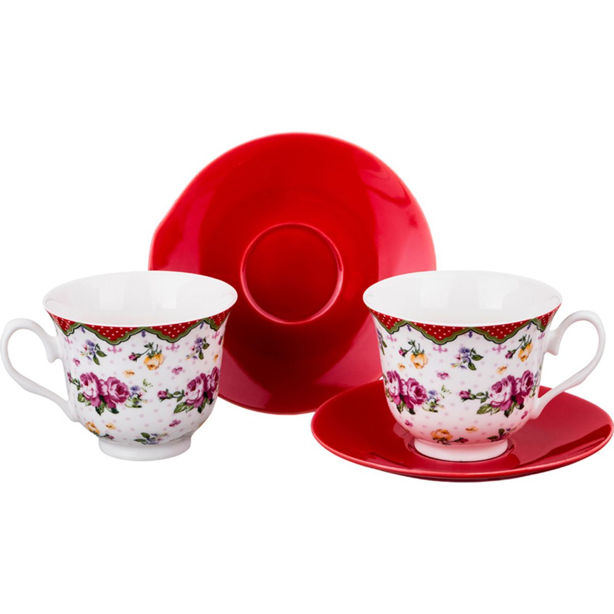 Чайный набор на 2 персоны Lefard Яркий сад, белый, красный, 220 мл набор чайный 220 мл bohemia набор чайный 220 мл