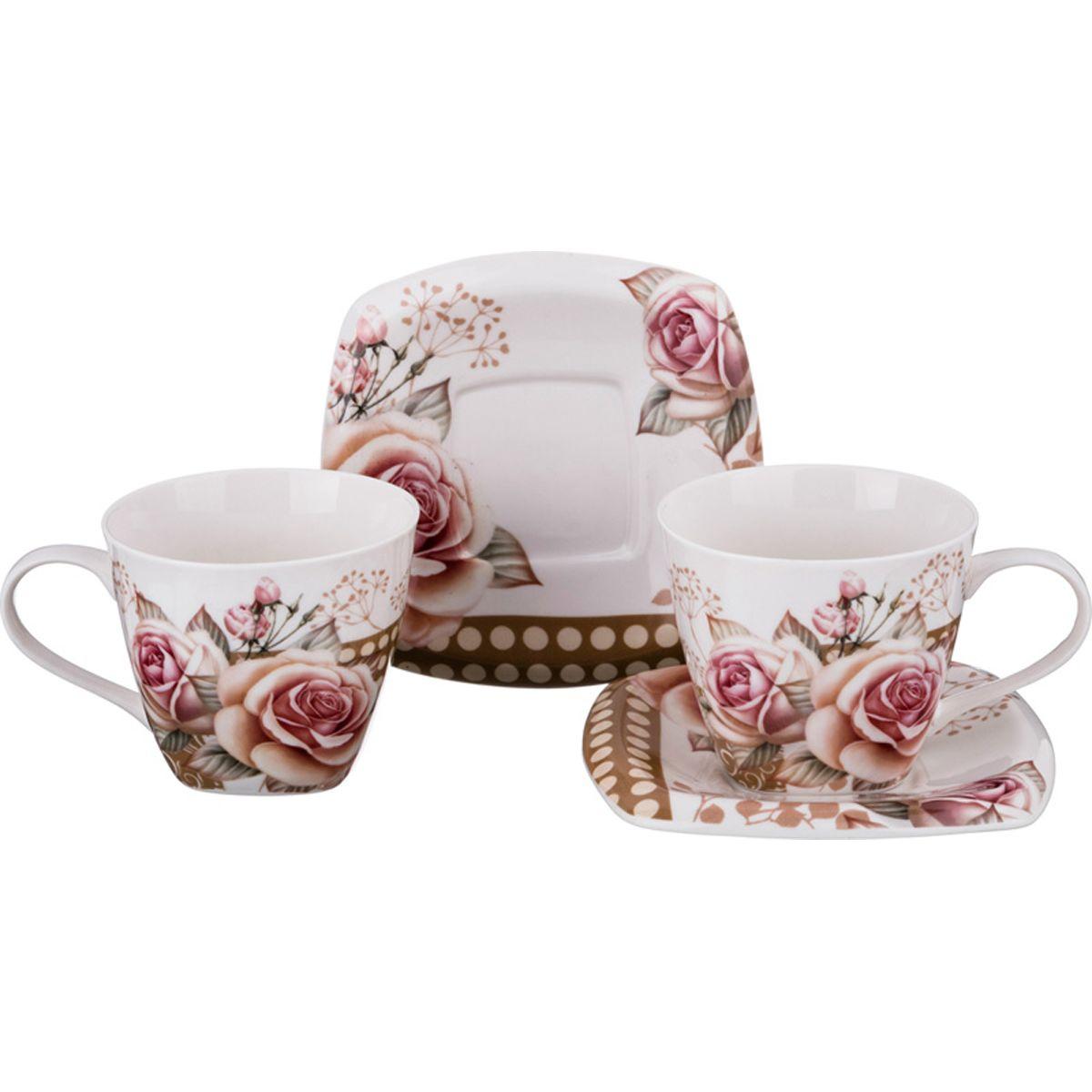 Набор чайный Lefard ''Бархатная роза'' на 2 персоны, LF-165/395, 220 мл набор чайный на 2 персоны c622as622a l6 yg01 2 розовый 4 предмета