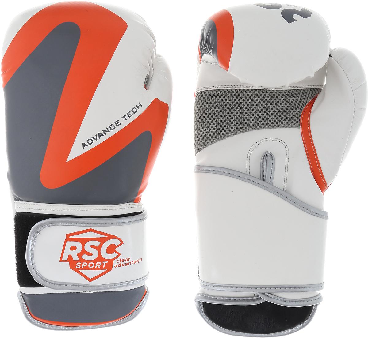 Перчатки боксерские RSC PU 2t c 3D, 00027036, белый, серый, оранжевый, вес 10 унций