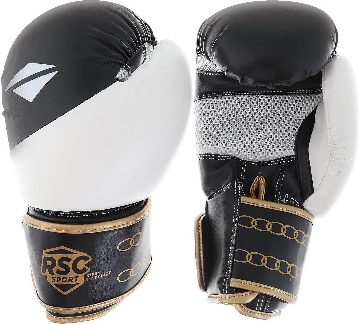 Перчатки боксерские RSC PU BF BX 012, 00026561, белый, черный, вес 8 унций шлем боксерский rsc pu bf bx 208 00026585 красный размер xl