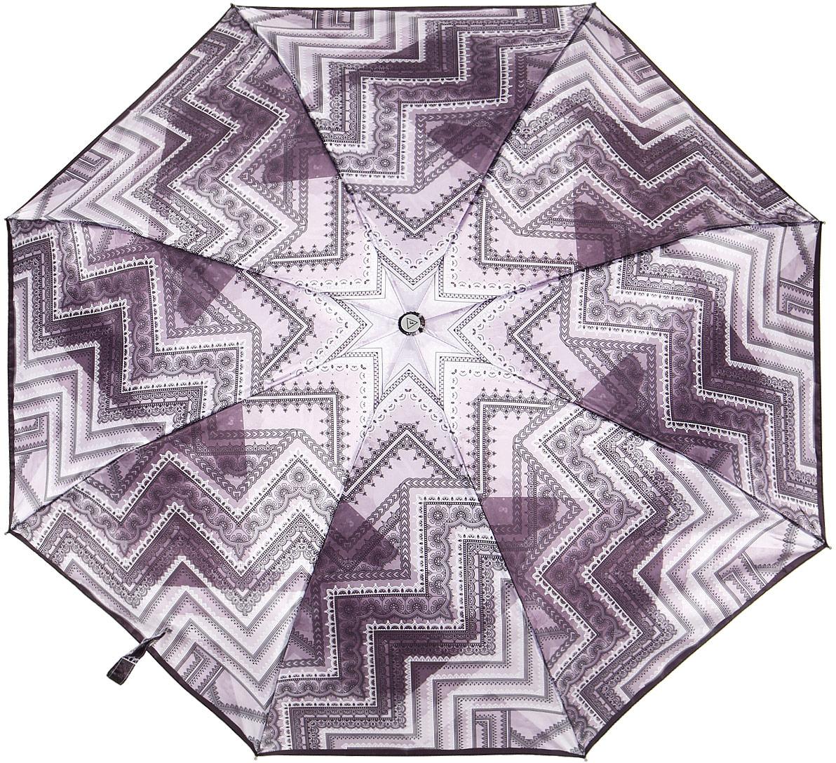Зонт женский Fabretti, суперавтомат, 3 сложения, цвет: фиолетовый. L-18117-5 недорго, оригинальная цена