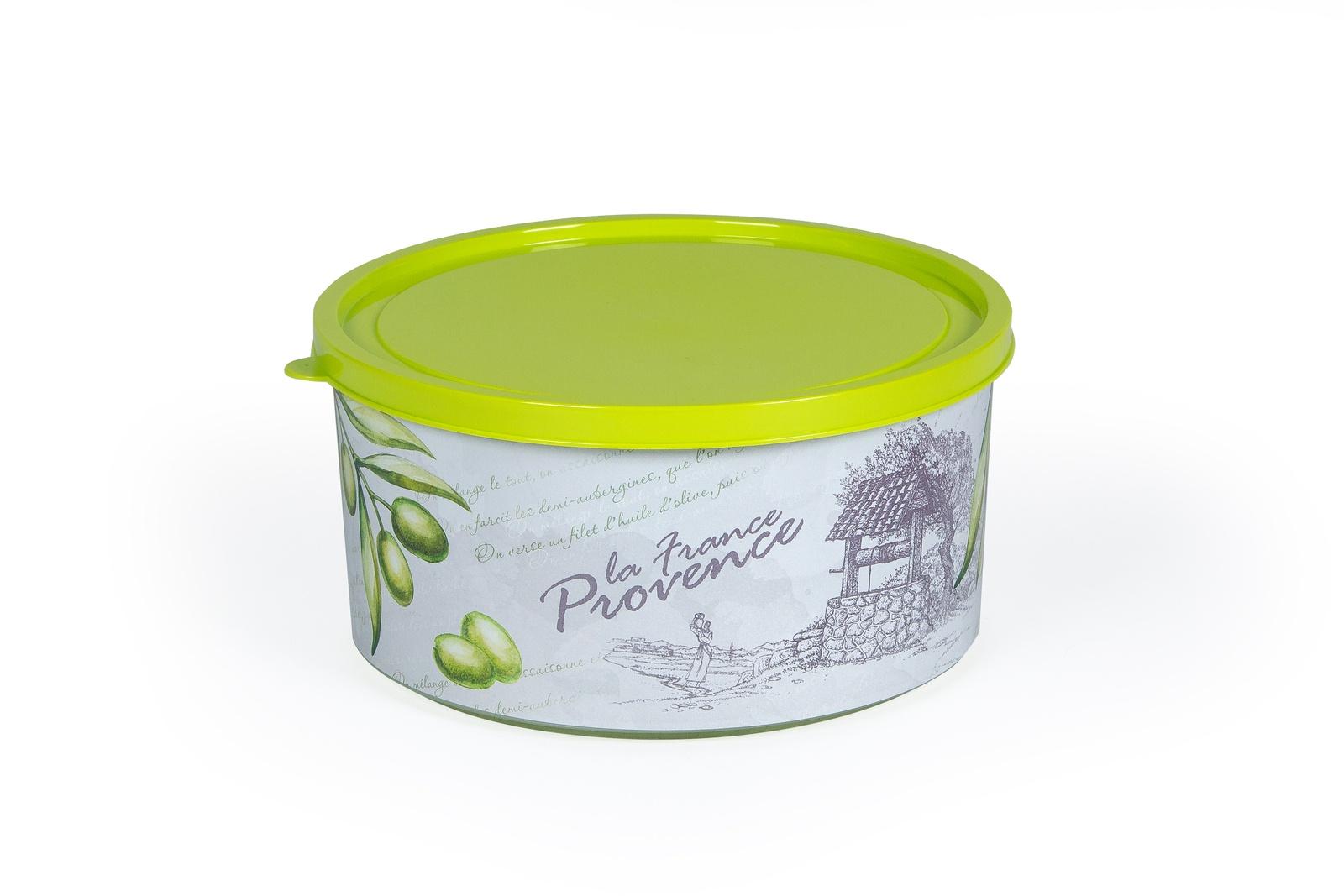 Коробка круглая Полимербыт Прованс, 51707, оливковый, 1,9 л аптечка полимербыт 6 5 л с вкладышем