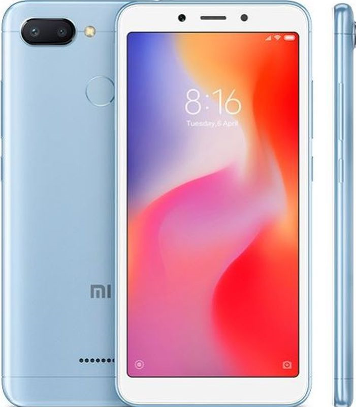 Смартфон Xiaomi Redmi 6 3/64GB, синий смартфон xiaomi redmi 6 4 64gb blue