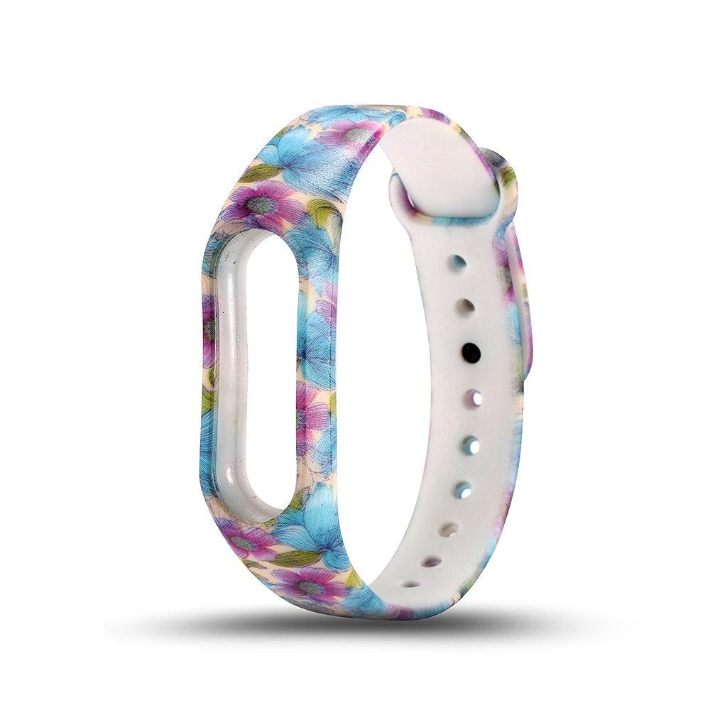 Ремешок TipTop Цветы для Xiaomi Mi Band 2, CA2091К, голубой, фиолетовый xiaomi mi band 2 smart bracelet red tpu strap 2pcs screen films