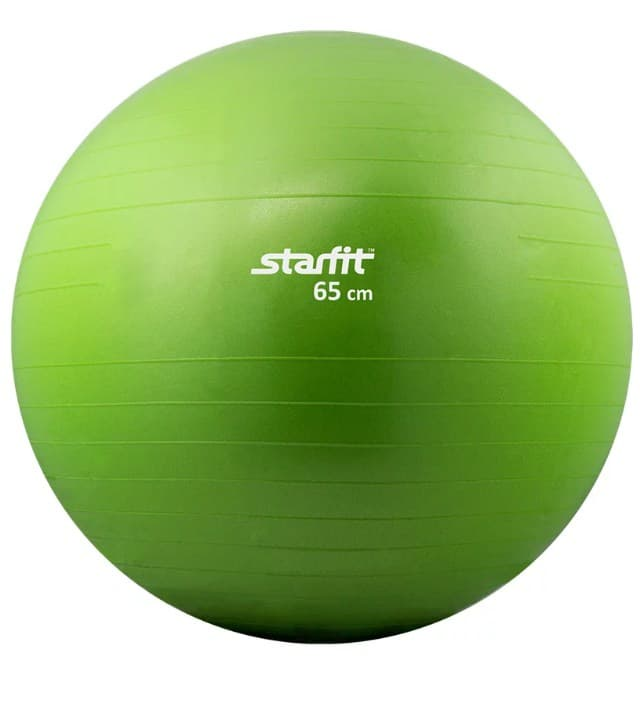 Мяч для фитнеса Starfit Мяч гимнастический GB-101 65 см, антивзрыв, зеленый мяч гимнастический starfit антивзрыв gb 101 фиолетовый 85 см