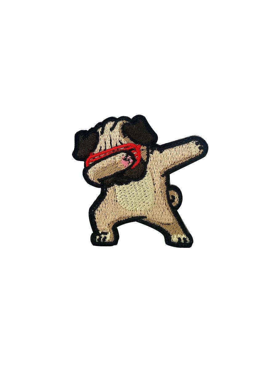 Самоклеящийся текстильный патч YSTICK Модный пес, (5 х 5,5см)