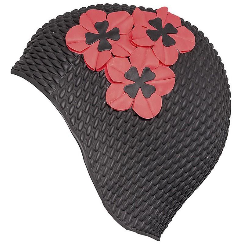 цена Шапочка для плавания женская FASHY Babble Cap with Flowers, 3119-06, черный, красный онлайн в 2017 году