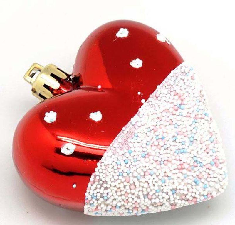 Подвесное украшение Яркий Праздник Сердце, цвет: красный, белый, 7 х 28 х 2 см подвесное украшение яркий праздник корона цвет красный 5 х 2 х 5 см