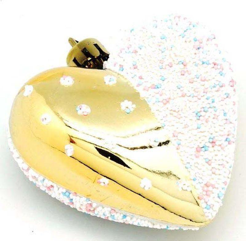 Подвесное украшение Яркий Праздник Сердце, цвет: золотистый, белый, 7 х 28 х 2 см подвесное украшение яркий праздник корона цвет красный 5 х 2 х 5 см