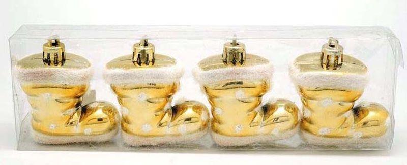 Подвесное украшение Яркий Праздник Сапожок, цвет: золотистый, 5 х 2 х 2 см подвесное украшение яркий праздник корона цвет красный 5 х 2 х 5 см