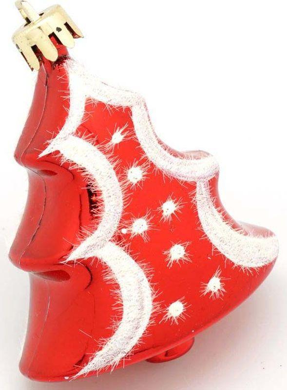 Подвесное украшение Яркий Праздник Елочка в горошек, цвет: красный, 6 х 16 х 2 см подвесное украшение яркий праздник корона цвет красный 5 х 2 х 5 см