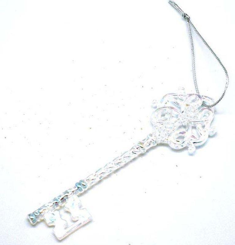 Подвесное украшение Яркий Праздник Ключ, цвет: жемчужный, голубой, 15 х 5 см подвесное украшение яркий праздник корона цвет красный 5 х 2 х 5 см