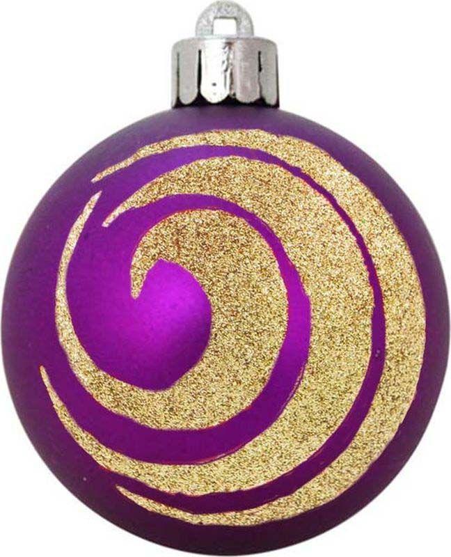 Набор елочных шаров Яркий Праздник, цвет: фиолетовый, золотистый, диаметр 6 см, 6 шт елочные украшения яркий праздник набор 6 штук матовых шаров из пластика с рисунком бронзовый с золотом 0 18х0 12х0 06 м
