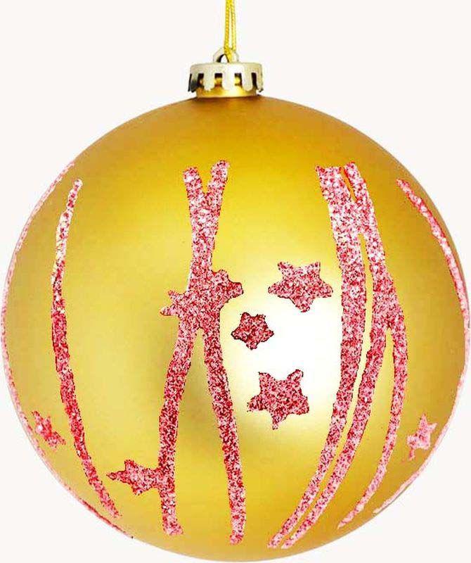 Набор елочных шаров Яркий Праздник, цвет: золотистый, красный, диаметр 6 см, 6 шт елочные украшения яркий праздник набор 6 штук матовых шаров из пластика с рисунком бронзовый с золотом 0 18х0 12х0 06 м