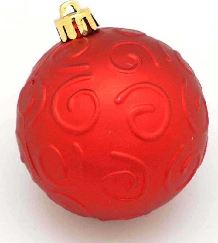 Набор елочных шаров Яркий Праздник, с рельефной поверхностью, цвет: красный, диаметр 6 см, 6 шт набор елочных шаров яркий праздник цвет зеленый золотистый диаметр 6 см 6 шт 16541