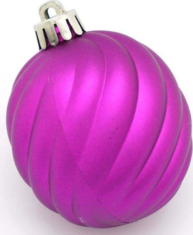 Набор елочных шаров Яркий Праздник, с рельефной поверхностью, цвет: фиолетовый, диаметр 6 см, 6 шт набор елочных шаров яркий праздник цвет зеленый золотистый диаметр 6 см 6 шт 16541