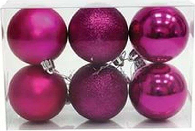 Набор елочных шаров Яркий Праздник, цвет: фиолетовый, диаметр 6 см, 6 шт