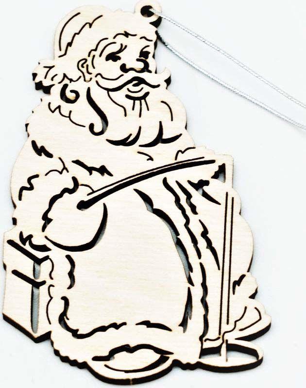 """Подвесное украшение Яркий Праздник """"Дед Мороз рыбак"""", цвет: бежевый, 8 см"""