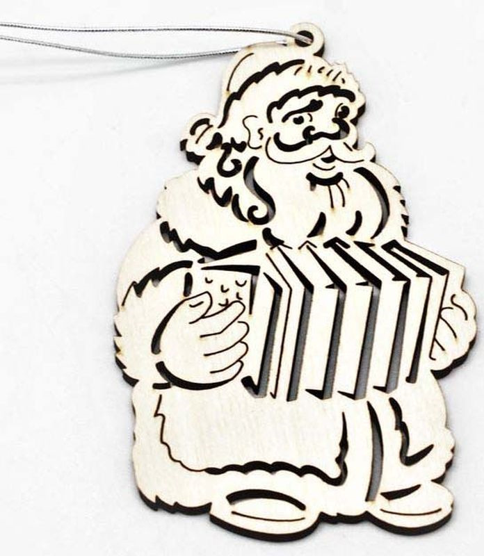 """Подвесное украшение Яркий Праздник """"Дед Мороз гармонист"""", цвет: бежевый, 8 см"""