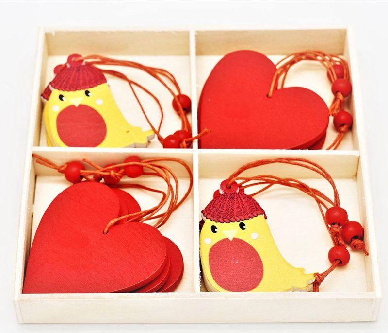 Подвесное украшение Яркий Праздник Птички, цвет: красный, желтый, 13 х 13 см верхушка на елку яркий праздник цвет красный 26 см