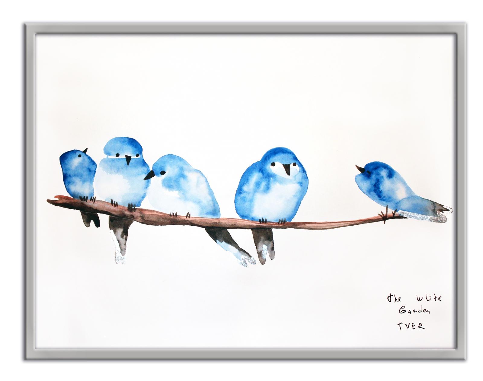 Картина The White Garden TVER Синицы, белый картина фото