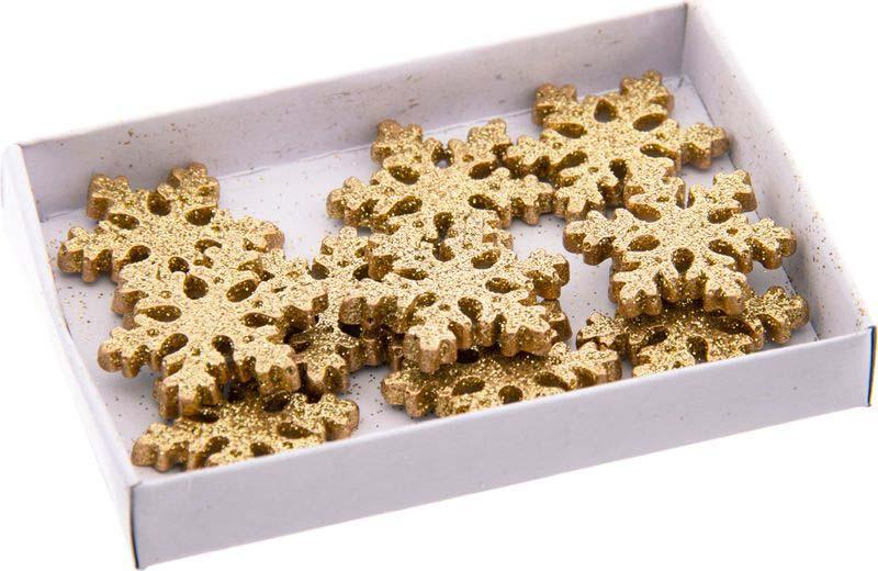 Набор декоративных фигурок Русские подарки Снежинки, цвет: золотистый, на липучке, 8 шт набор ёлочных игрушек русские подарки шары цвет серебристый 8 см 4 шт