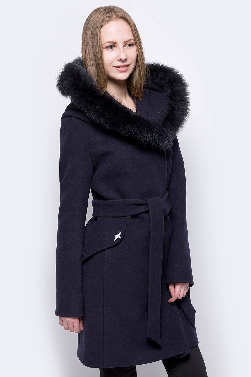 Пальто женское ElectraStyle, цвет: темно-синий. НП3У-8004-128. Размер 52НП3У-8004-128_темно-синий