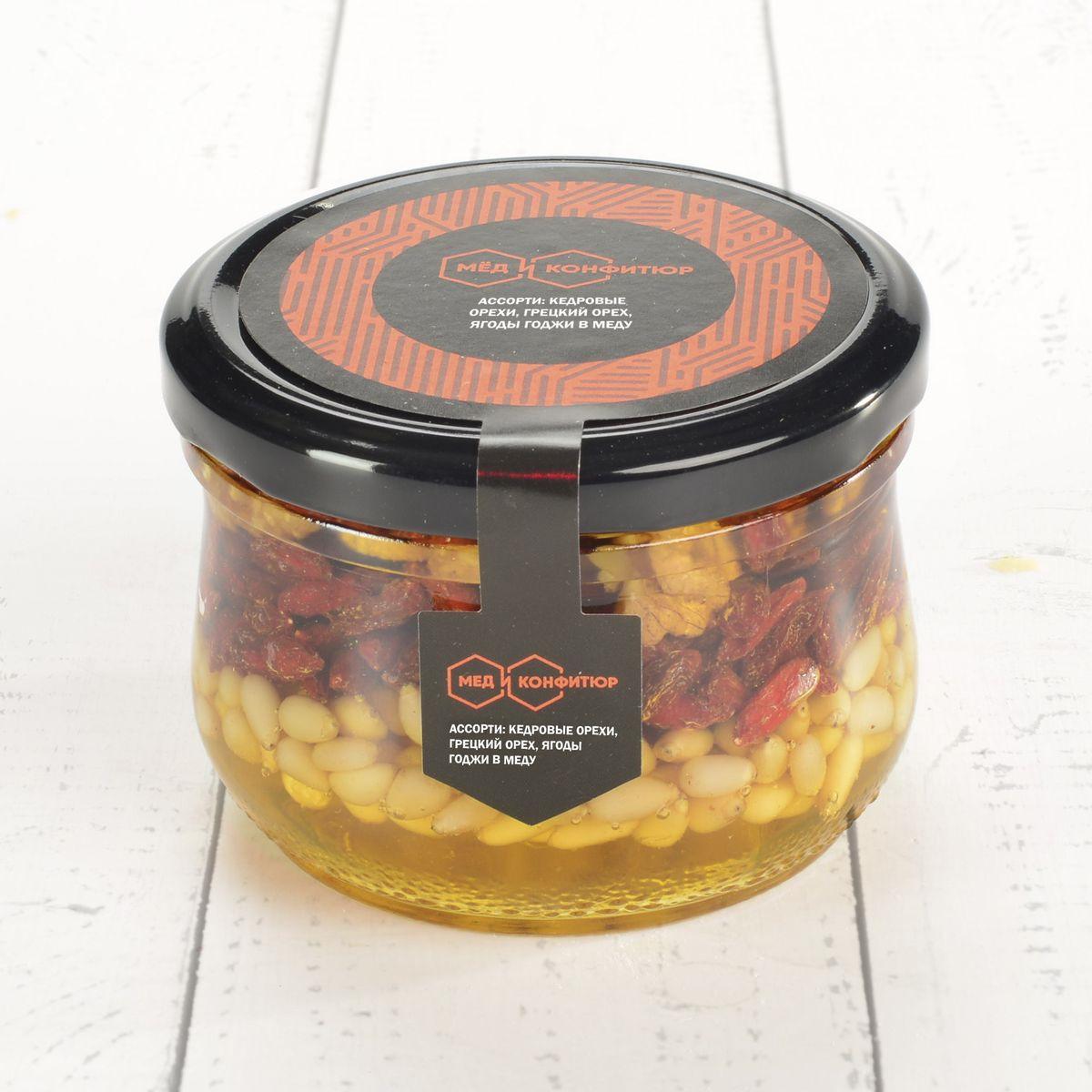 Орехи в меду Мед и конфитюр кедровый орех, грецкий орех, ягоды годжи, 250 г для потенции грецкий орех мед