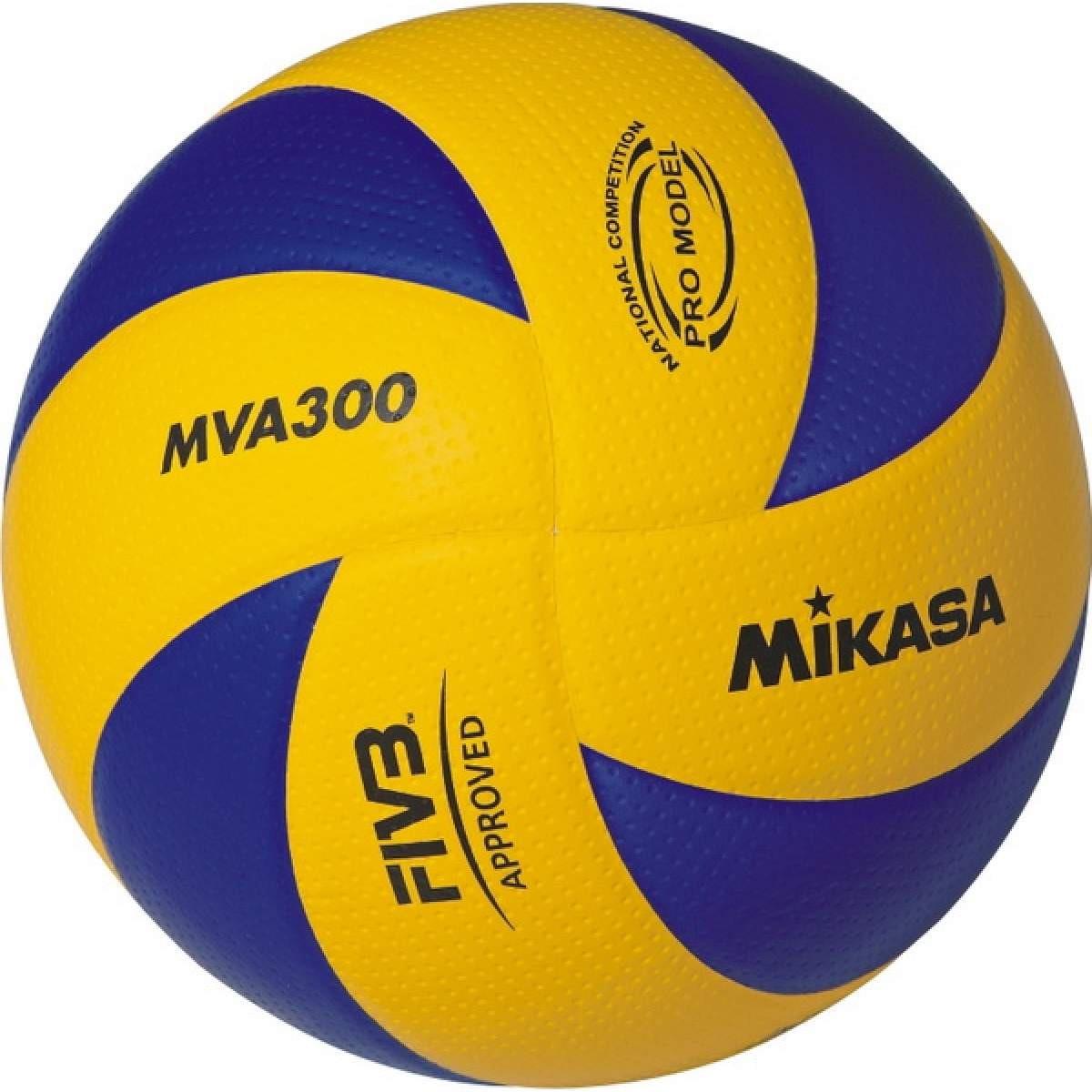 Мяч волейбольный Mikasa, MVA300, синий, желтый, размер 5 мяч волейбольный mikasa mva300l облегченная реплика официального мяча fivb