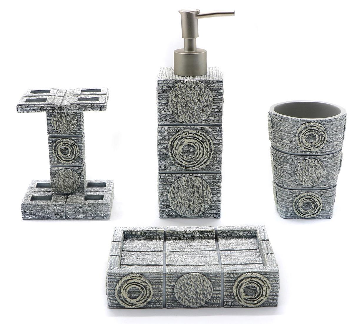 """Набор для ванной комнаты PROFFI """"Орнамент"""", PH9877, серый"""