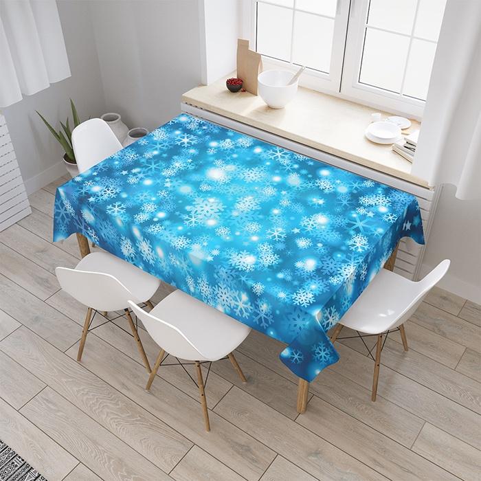 """Скатерть прямоугольная JoyArty Снежный узор из сатена, tc_10671097_120x145tc_10671097_120x145Комплектация: скатерть. Материал: сатен, 100% полиэстер, плотность 175 гр./кв.м. Дизайн: снежинки, узор, зима. Скатерть, как и клеенка - незаменимая вещь для кухни. Она надежно защищает поверхность стола от грязи, легко стирается и практически не мнется. Материал, из которого сшита скатерть, гладкий, обладает высокой износостойкостью, идеален для эксплуатации в условиях кухни и выдерживает большое число стирок. Изделие имеет сертификат, подтверждающий безопасность и экологичность. Скатерть """"Снежный узор"""" относится к категории фототекстиля, она поможет оформить Вашу кухню в стиле - Молодежный. Изображение наносится методом сублимационной печати, благодаря чему рисунок обладает необыкновенной яркостью и четкостью. А значит, есть возможность подобрать этот аксессуар в любом стиле и цветовой гамме. Скатерти представлены в двух типоразмерах."""