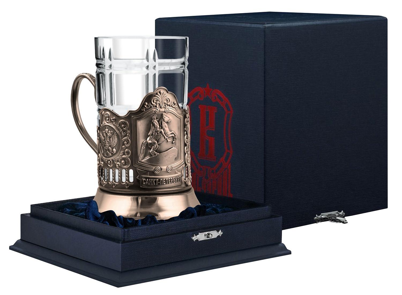Набор для чая Кольчугинъ Медный всадник подстаканник медный + стакан хрустальный, 250 мл + футляр подарочный, НБФС9608/7 медный всадник набор из 15 открыток