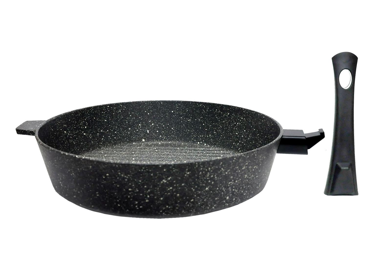 Сковорода алюминиевая Алита Гриль со съемной ручкой, 19702, черный мрамор, 28 х 6,5 х 0,6 см сковорода алюминиевая алита гриль со съемной ручкой 19702 черный мрамор 28 х 6 5 х 0 6 см