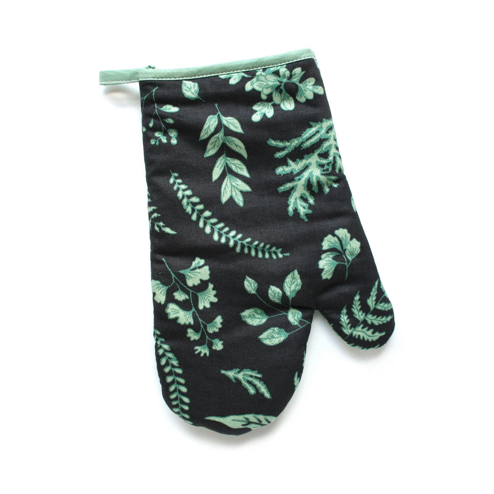 Прихватка-рукавица Bonita Ботаника, черный, зеленый, 17 х 28 см фартук кухонный bonita ботаника 14010818037 черный зеленый 65 х 75 см