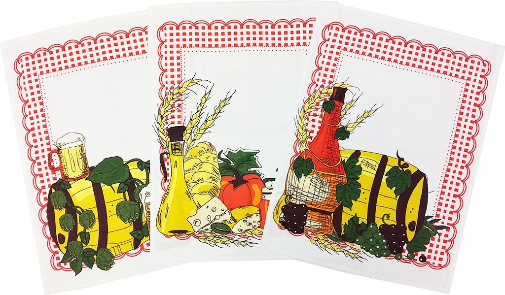 Набор вафельных полотенец Bonita Натюрморт, 11010815733, белый, желтый, красный, 44 х 59 см, 3 шт набор полотенец bonita французская сирень 45 х 60 см 3 шт