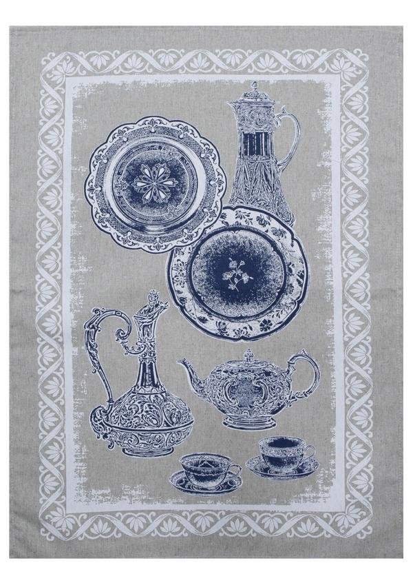 Полотенце кухонное Белорусский лен Посуда-2, 17С336/1/607, серый, синий, 50 х 70 см коляска rudis solo 2 в 1 синий бежевый лен gl000338124 492552
