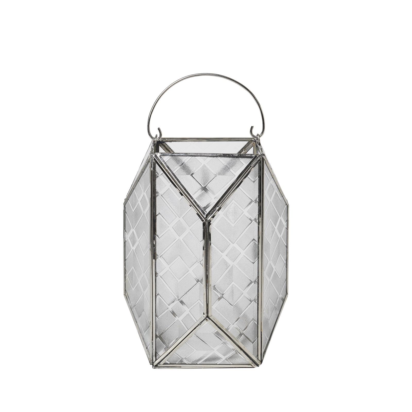 Фонарь-подсвечник Broste Meili 70140013, прозрачный, серебряный, 17 х 17 х 24 см недорго, оригинальная цена