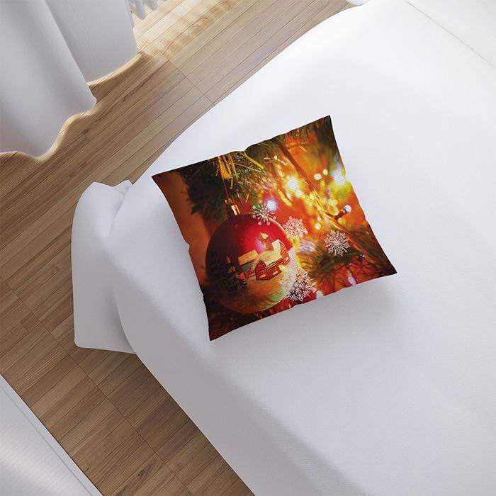 """Новогодняя подушка """"Новогодние шары"""" JoyArty, pl_zima_025, 40x40 см"""