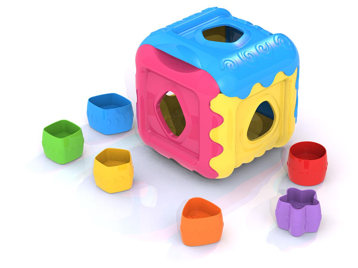 Дидактическая игрушка Нордпласт Кубик, 784, желтый, голубой, розовый, 13x13x13 см цена