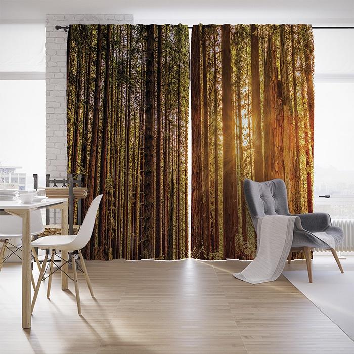 Шторы с фотопечатью Лучи солнца из сатена, 290х265 смшсг_8946Комплектация: два полотна по 145х265 см со шторной лентой (есть возможность крепить на крючки и на трубу), крючки для крепления 50 шт. Материал: сатен, плотность 175 гр./кв.м. Дизайн: деревья, лес, солнце. Сатен - ткань, состоящая из 100% полиэстера - внешне напоминает атлас, но с матовой поверхностью. Ткань отлично рассеивает свет, не создавая бликов. Эти занавески не являются блэкаутом, они пропускают около 30% света. Фотошторы - это совершенно новый подход к оформлению окон. Яркие расцветки, необычные принты, красочная сублимационная печать - все это превращает классические шторы в арт-объект. Современные 3д шторы отлично стираются, практически не мнутся, не дают усадки и растяжения. Рисунок не вымывается и не выцветает. Обращаем внимание, что из-за особенностей производства яркость рисунка может отличаться от изображения на сайте. А также допустимо отклонение в размерах полотна в пределах 5 см.