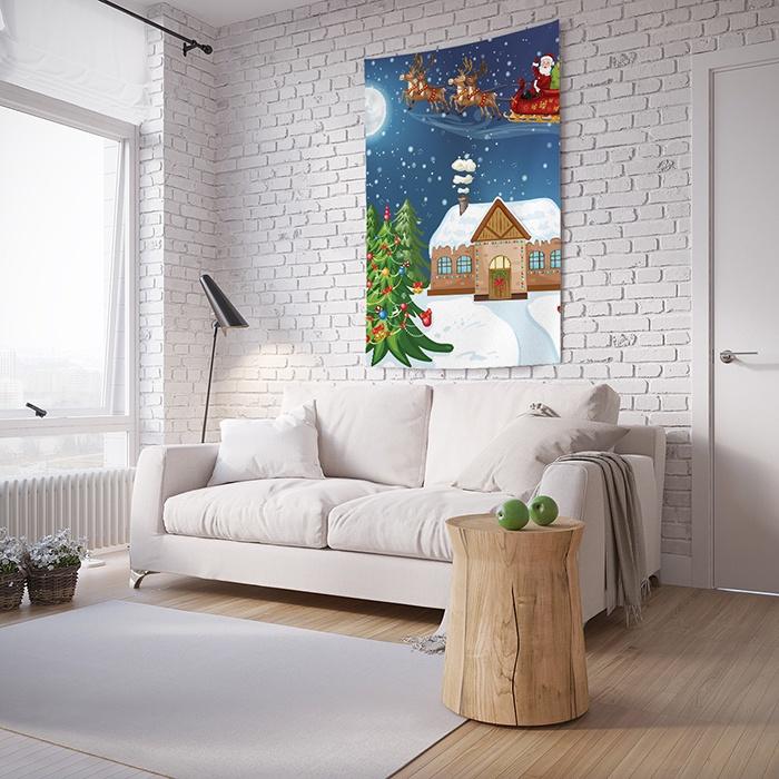 Панно с фотопринтом на стену JoyArty Санта подарками, tp_20081, 100x150 см