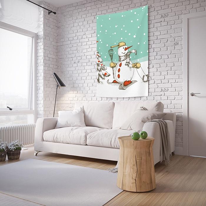 Панно с фотопринтом на стену JoyArty Снеговик лыжах, tp_5764, 100x150 см