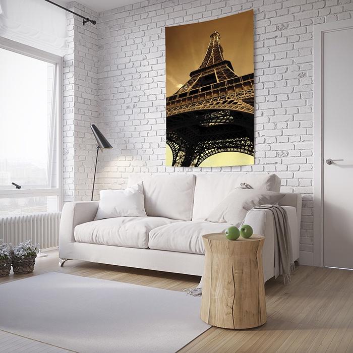 """Панно с фотопринтом на стену JoyArty Прикоснись к парижу, tp_8876, 100x150 смtp_8876_100x150Комплектация: одно полотно с петлями для крепления в уголках. Материал: плотный сатен, плотность 175 гр./кв.м. Дизайн: башня, небо, париж. Размер: вставить размер. Тканевое панно """"Прикоснись к парижу"""" в стиле Французский - современное решение для декора стен, продолжающее традиции гобеленовых картин. Но в отличие от них изображение на постер переносится методом сублимационной печати, которая обеспечивает натуралистичность, яркость и красочность. А еще - огромное количество разнообразных принтов, благодаря чему постер из фототекстиля можно органично вписать в любой интерьерный стиль. Дизайн декоративной ткани в актуальных цветах коричневый, черный. Материал постера - сатен - хорошо держит форму. Рисунок со временем не выгорает. Такой тканевый ковер на стену """"Прикоснись к парижу"""" легко стирается и устойчив к глажке."""
