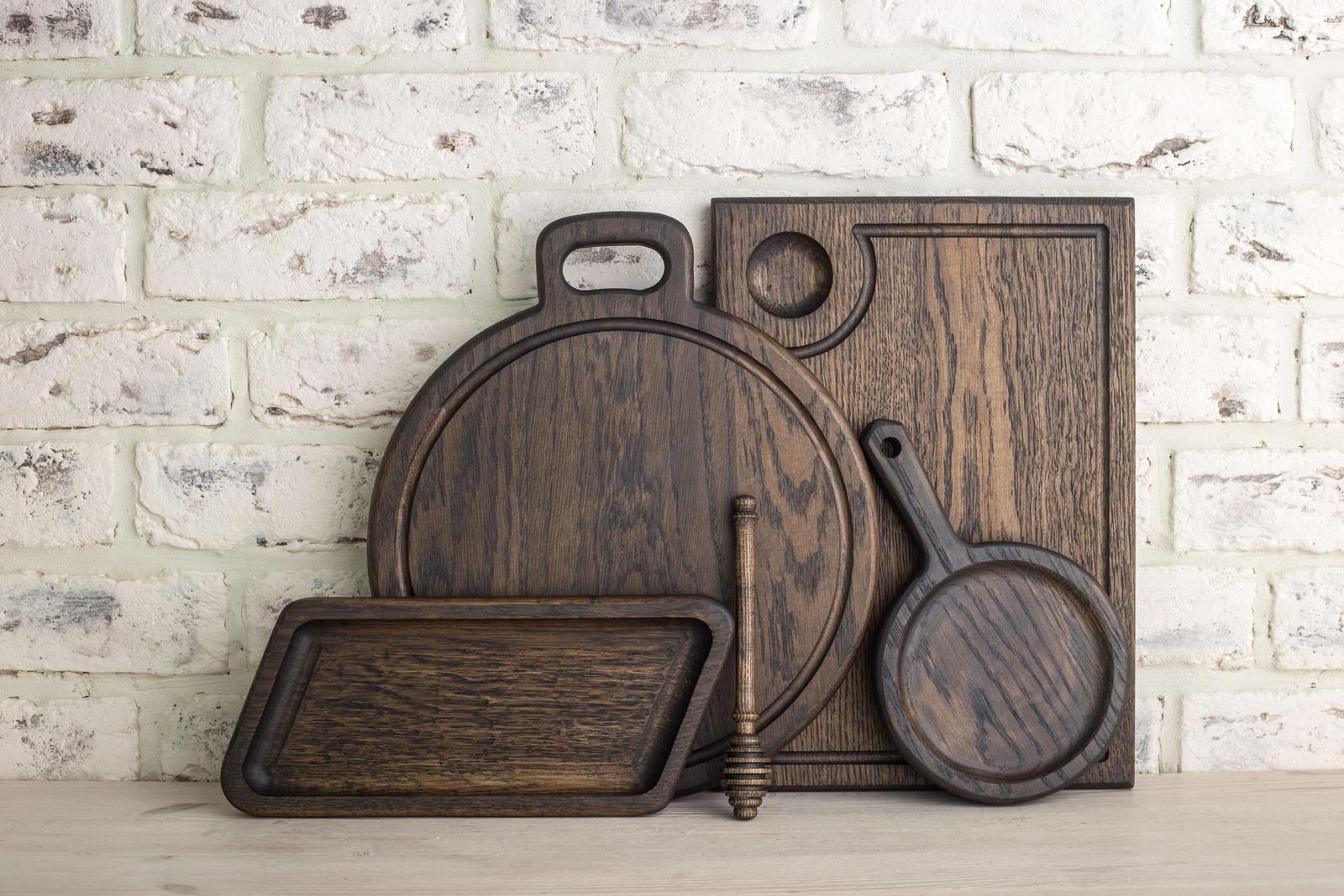 Разделочная доска Foxwoodrus Набор для кухни из темного дуба, черный доска разделочная круглая с металлической ручкой 30 5х1 6см 790809