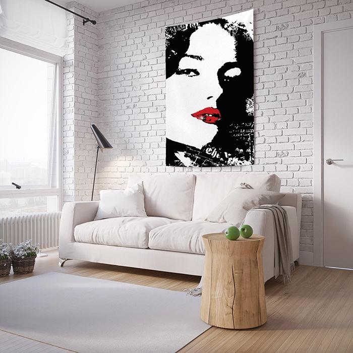 """Панно JoyArty Искусительный облик, на стену, с фотопринтом, tp_3398, 150 x 200 смtp_3398_150x200Комплектация: одно полотно с петлями для крепления в уголках. Материал: плотный сатен, плотность 175 гр./кв.м. Дизайн: девушка, пятна, губы. Размер: вставить размер. Тканевое панно """"Искусительный облик"""" в стиле Молодежный - современное решение для декора стен, продолжающее традиции гобеленовых картин. Но в отличие от них изображение на постер переносится методом сублимационной печати, которая обеспечивает натуралистичность, яркость и красочность. А еще - огромное количество разнообразных принтов, благодаря чему постер из фототекстиля можно органично вписать в любой интерьерный стиль. Дизайн декоративной ткани в актуальных цветах черный, красный, белый. Материал постера - сатен - хорошо держит форму. Рисунок со временем не выгорает. Такой тканевый ковер на стену """"Искусительный облик"""" легко стирается и устойчив к глажке."""